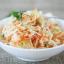 Salade de chou, bol de riz, soupe miso